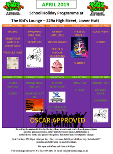 The Kid's Lounge HP timetable April 2019 end of Term 1